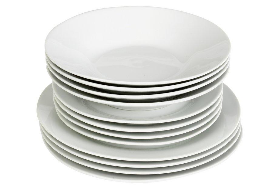 Plain Dinner Service Plates Set 12 White Porcelain Kitchen ...