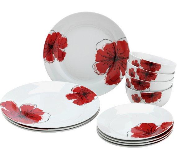 Buy HOME Poppies 12 Piece Porcelain Dinner Set - Red | Crockery | Argos