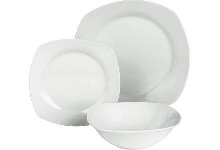 HOME 12 Piece Square Porcelain Dinner Set - White