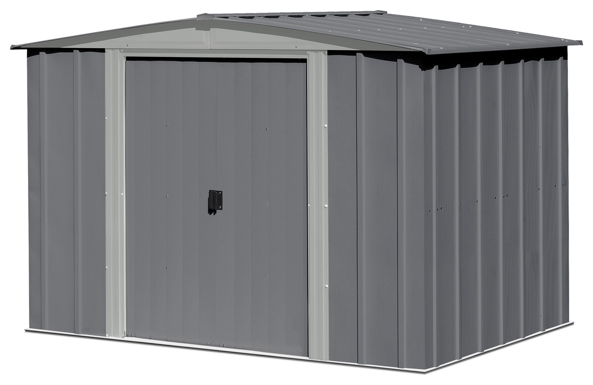 Image of Arrow Apex Metal Garden Shed Dark Grey - 8 x 6ft