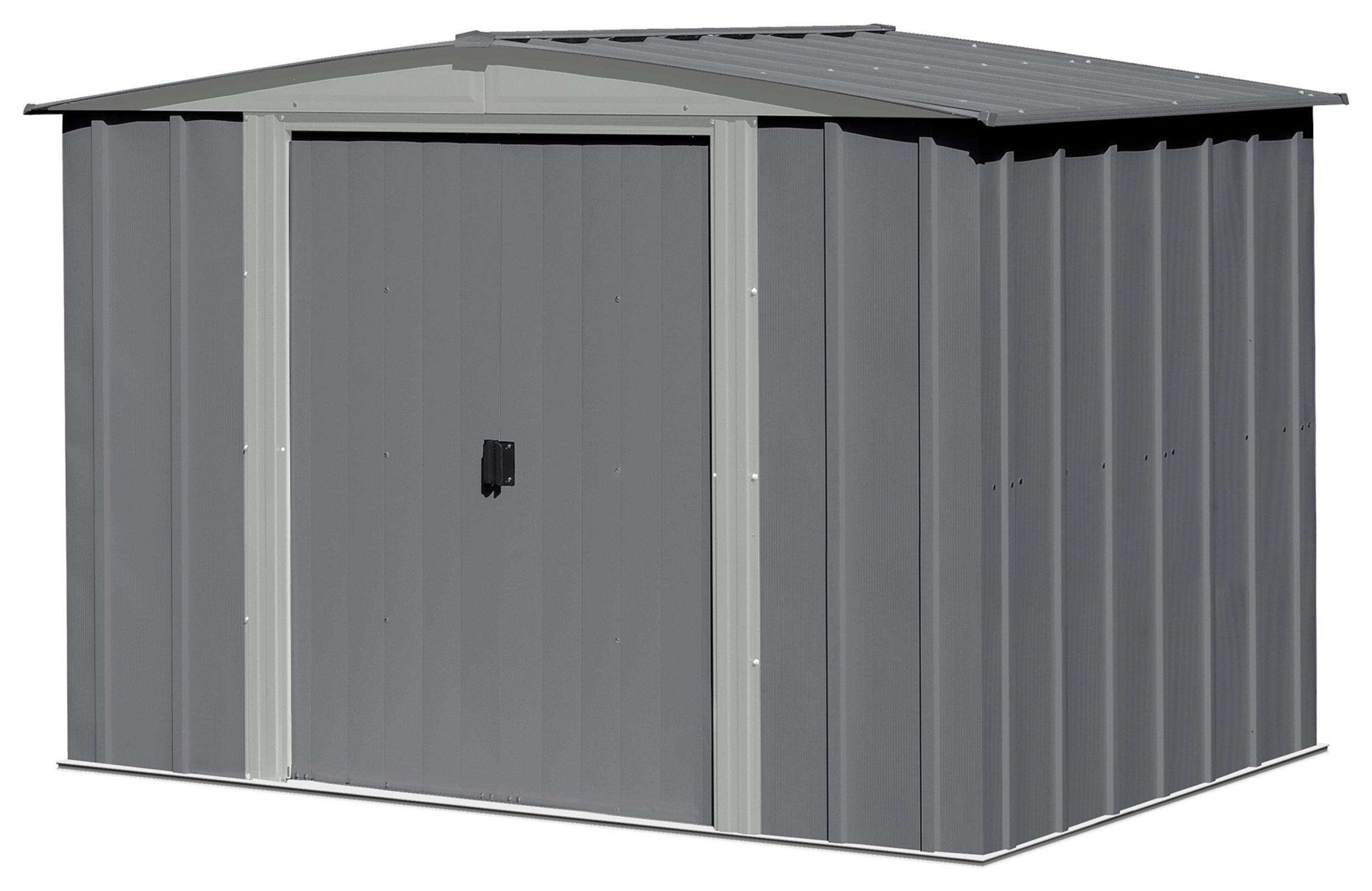 Image of Arrow Steel Garden Shed Dark Grey - 8 x 6ft
