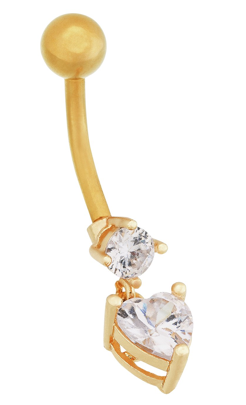 'State Of Mine Gold Colour Cz Heart Drop Belly Bar