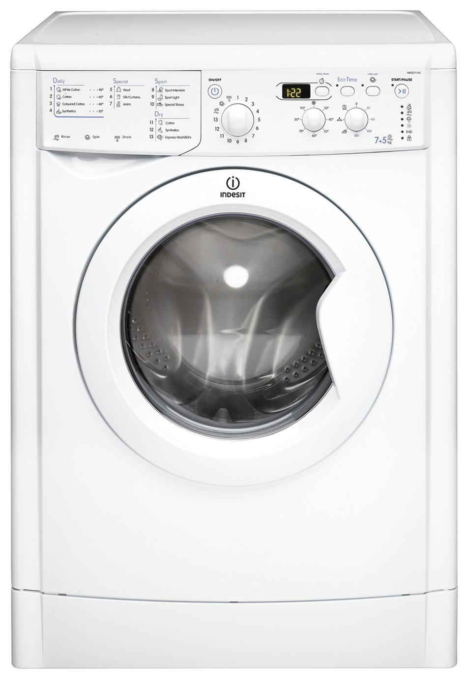 Indesit IWDD7143 7KG / 5KG 1400 Spin Washer Dryer - White