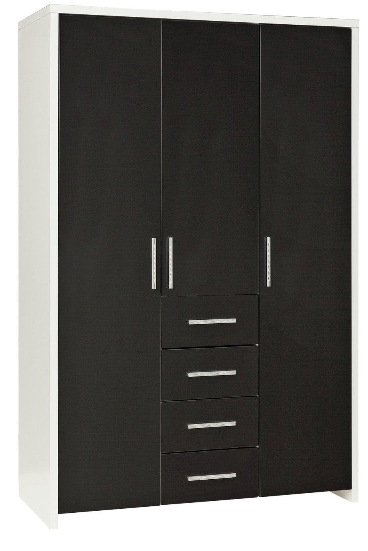 HOME Broadway 3 Door 4 Drawer Wardrobe - Black Gloss & White