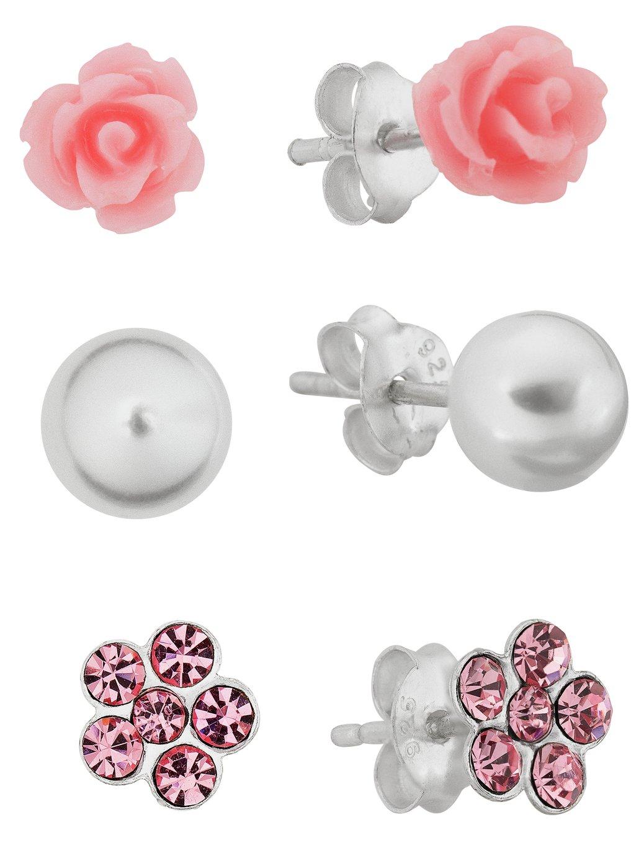 Revere Kid's Silver Crystal Set of 3 Stud Earrings