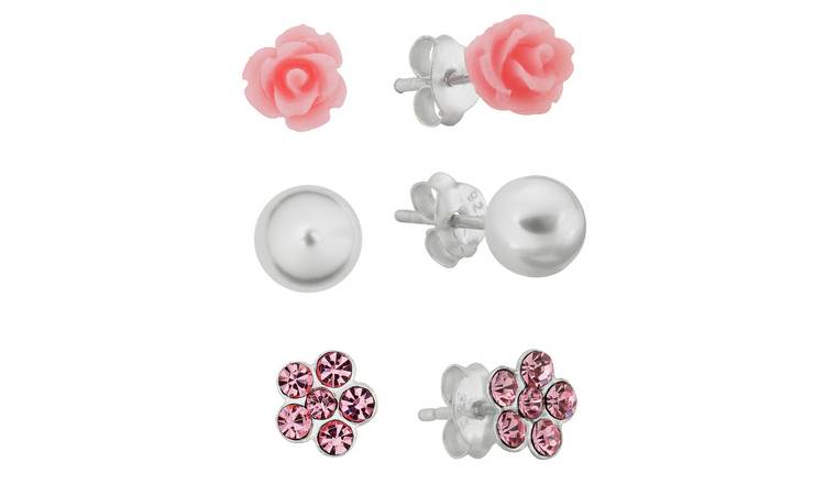 Revere Kid's Silver Crystal Set of 3 Stud Earrings