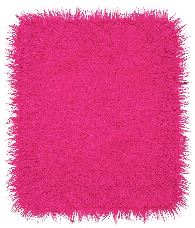 Argos Home Faux Flokati Rug - 150x90cm - Hot Pink