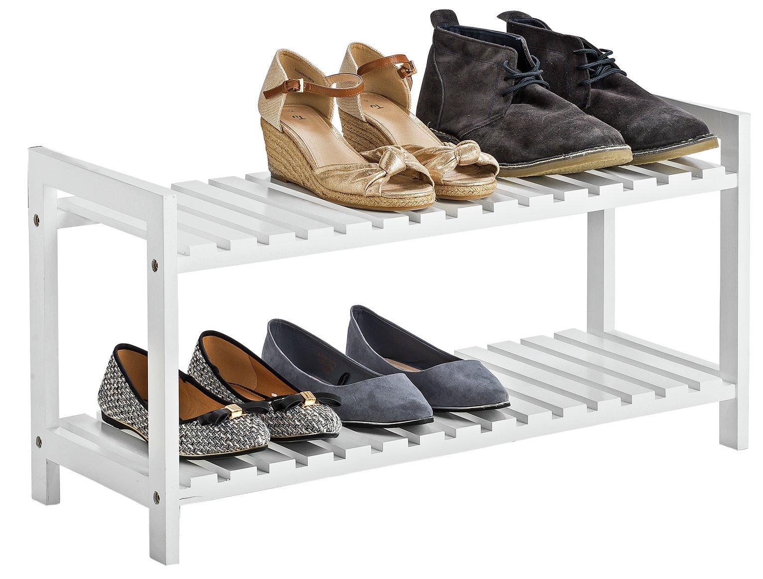 Argos Home 2 Tier Shoe Rack - White