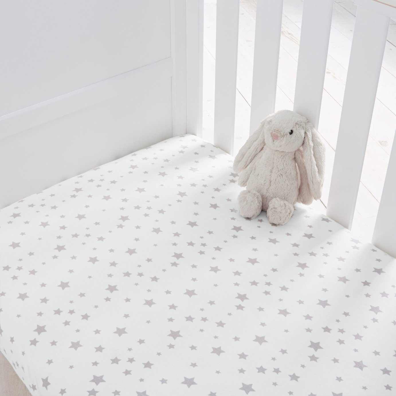 Silentnight Fitted Cot Sheet 2 Pack - Grey Stars