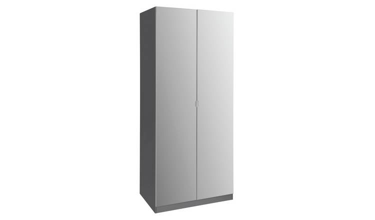Habitat Munich 2 Door 2 Mirror Wardrobe - Anthracite