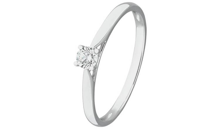 Revere 9ct White Gold 0.15ct Diamond Solitaire Ring - J