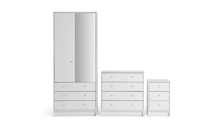 Habitat Malibu 3 Piece 2 Door Mirror Wardrobe Set - White
