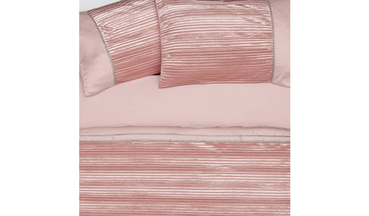 Argos Home Blush Sparkle Velvet Bedding Set - Single