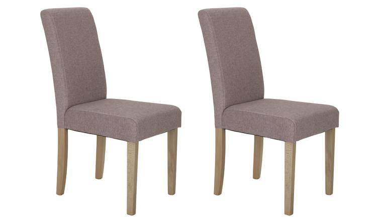 Argos Home Pair of Tweed Mid Back Dining Chairs - Rose
