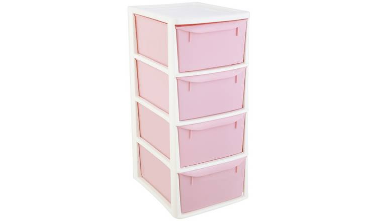 Argos Home 4 Drawer Tower - Pink