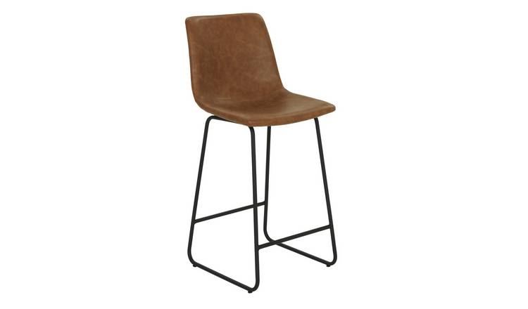 Argos Home Joey Faux Leather Bar Stool - Tan