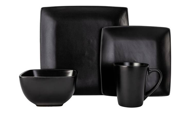 Argos Home Bosa Square 16 Piece Dinner Set - Black