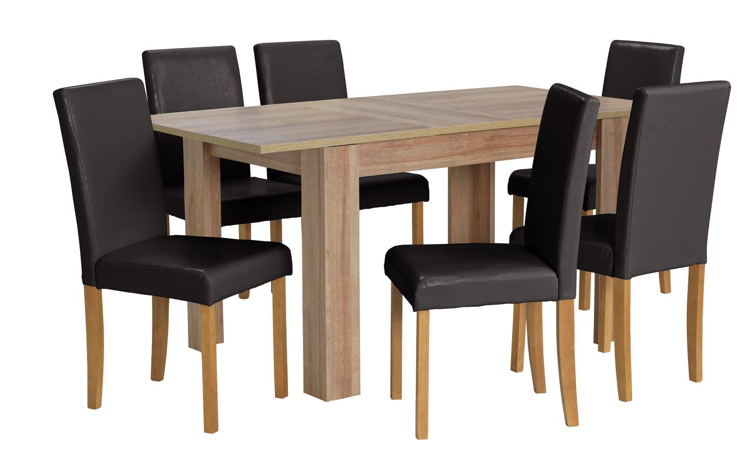 HOME Miami Extendable Oak Veneer Table & 6 Chairs - Black
