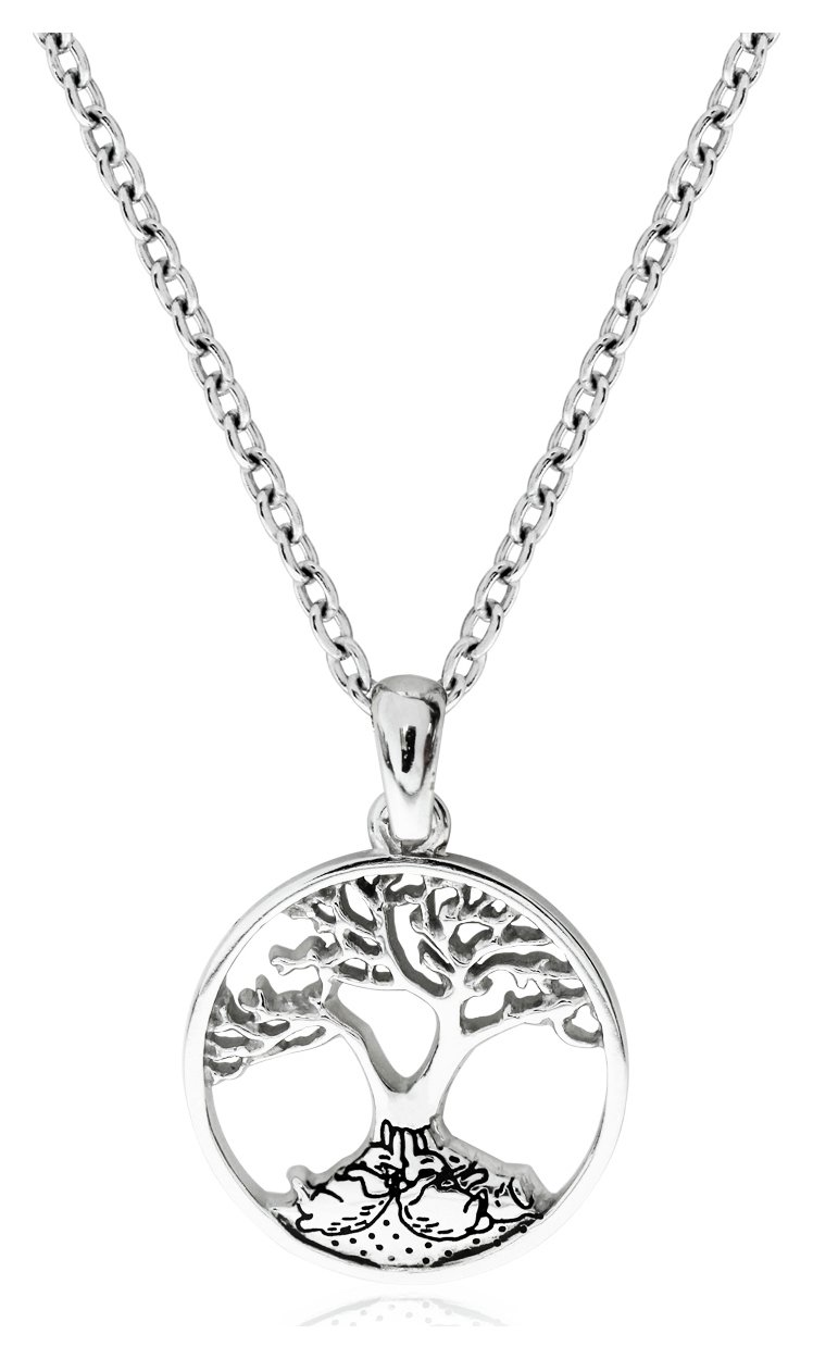 Image of Beatrix Potter Sterling Silver Family Tree Bunny Pendant