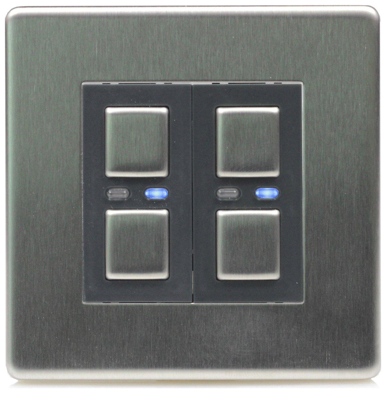 Lightwave RF 2 Gang Dimmer Switch - Stainless Steel