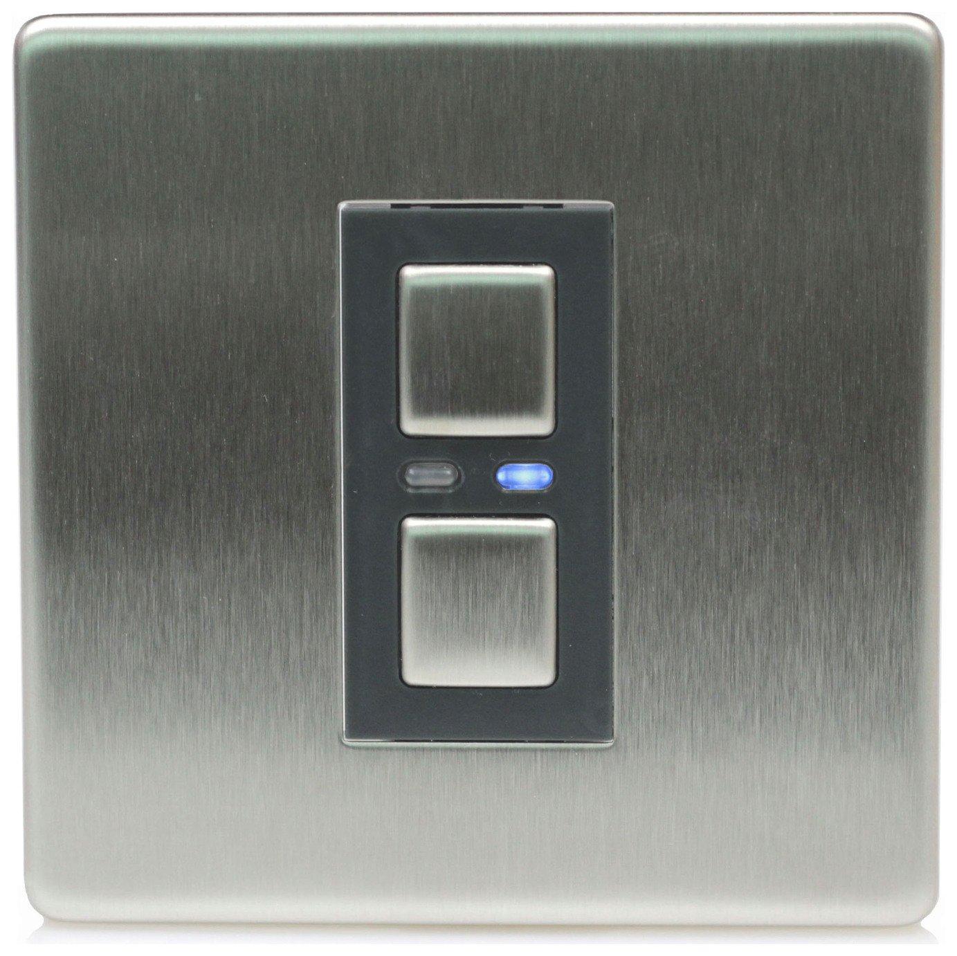 Lightwave RF 1 Gang Dimmer Switch - Stainless Steel