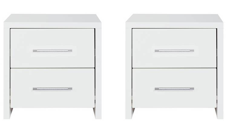 Argos Home Broadway Gloss 2 Bedside Tables Set - White