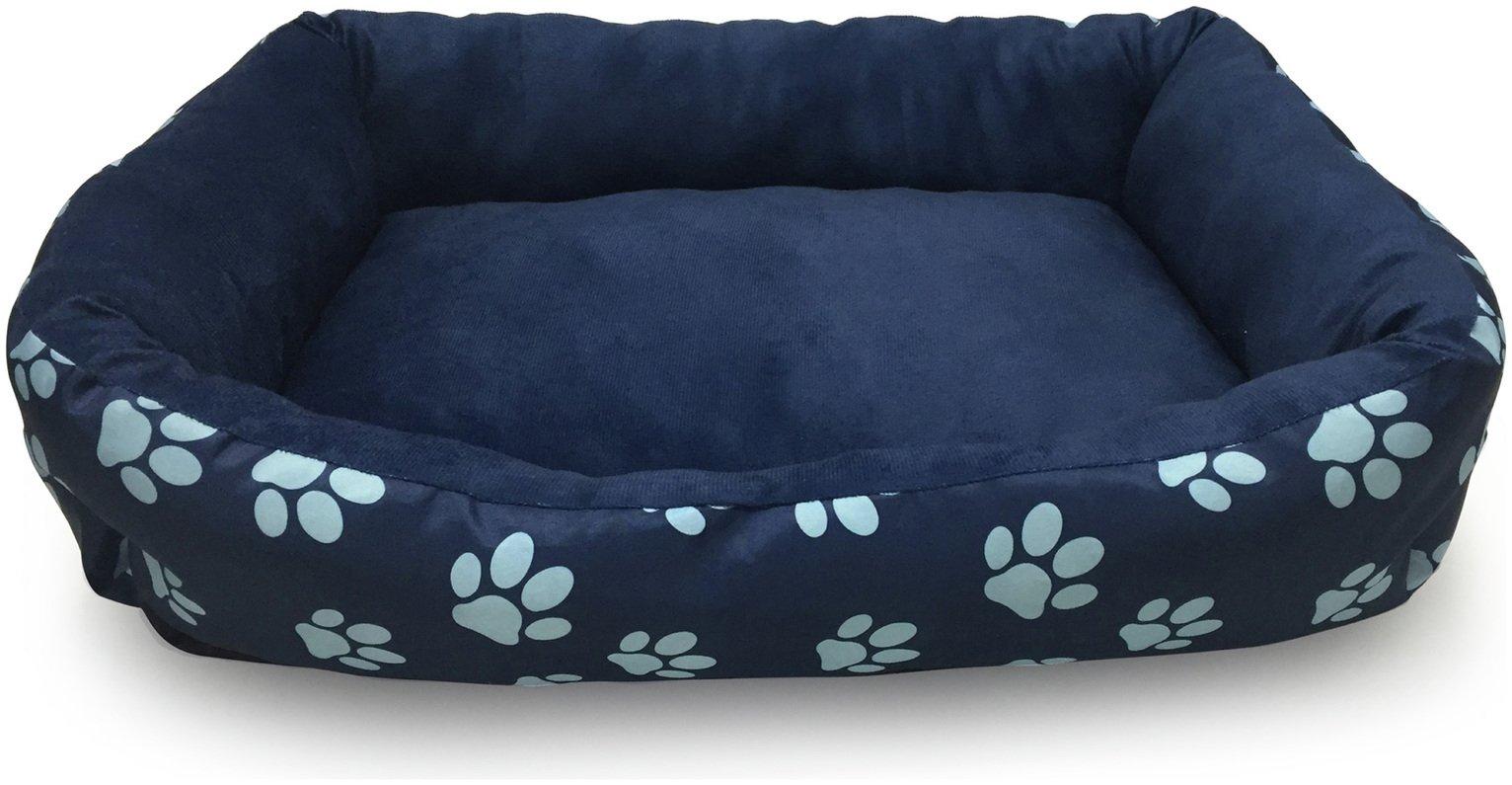 Paw Print Square Navy Cushion - Medium