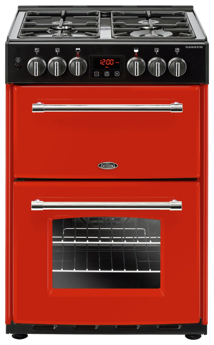 Belling Farmhouse 60DF 60cm Double Dual Fuel Cooker - Red