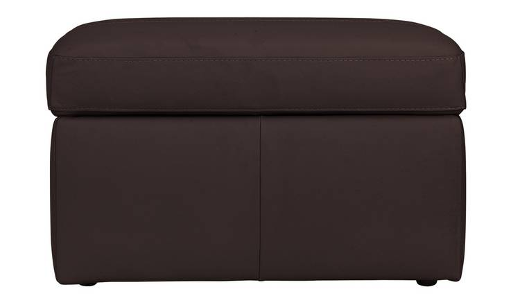 Argos Home Leather Storage Footstool - Chocolate