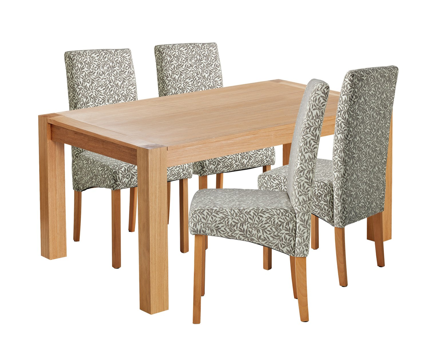 Argos Home Alston Oak Veneer Table & 4 Chairs - Floral