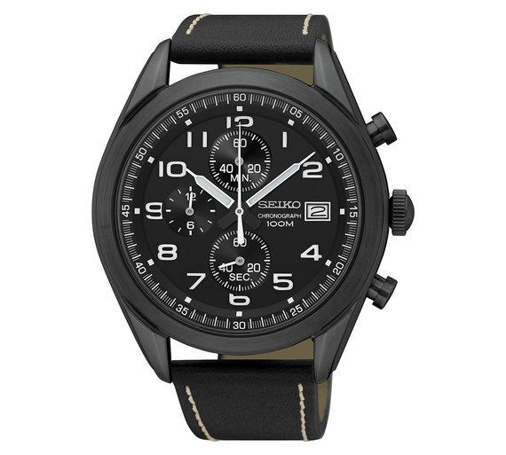 Buy Seiko Men s Black Leather Strap Quartz Chronograph Watch ... 6bbdfa57f0ee