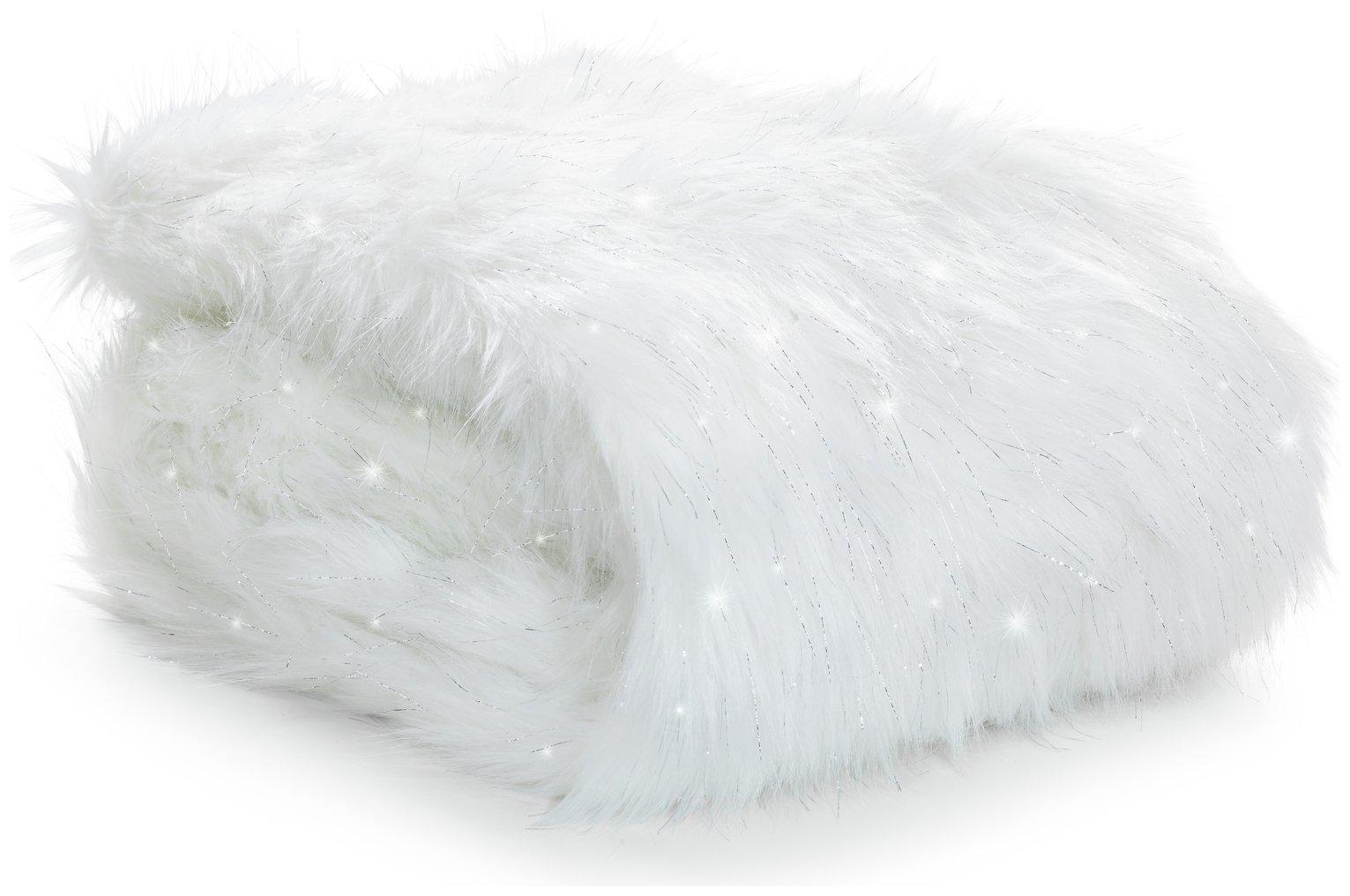 Image of Catherine Lansfield Metallic Fur Throw - Polar White