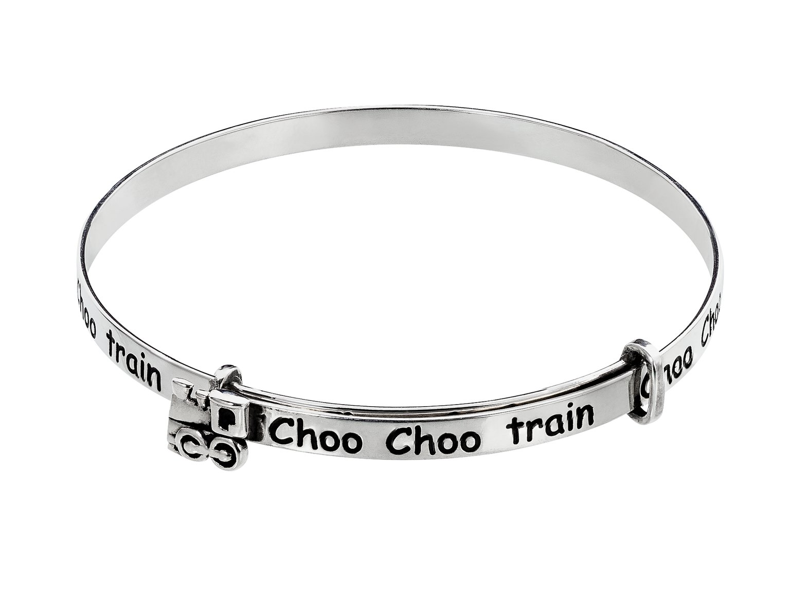 Revere Kid's Silver 'Choo Choo Train' Expander Bangle