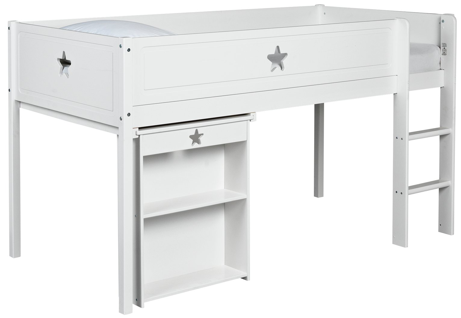 Collection Stars Mid Sleeper Bed Frame with Desk - White