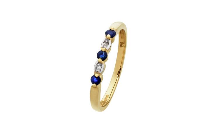 996606894 Revere 9ct Yellow Gold Sapphire & Diamond Alternate Ring803/5118