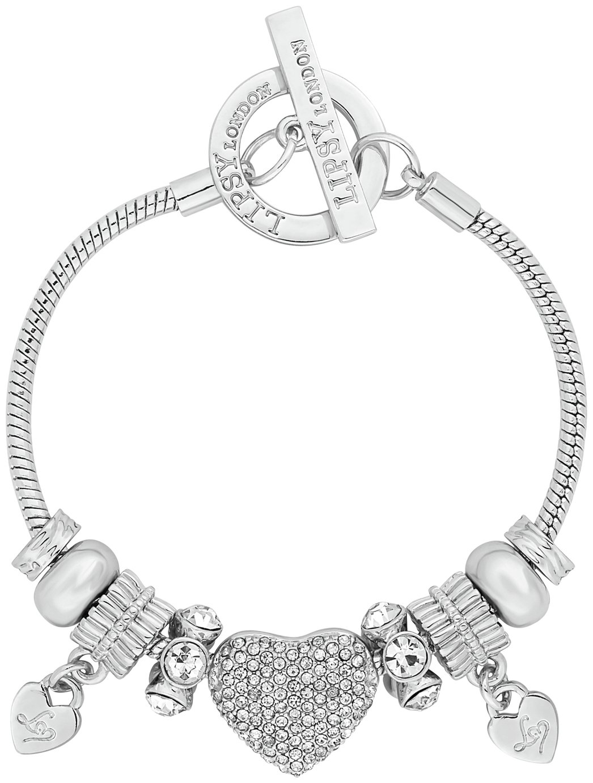 Lipsy Silver Colour Pave Heart Charm Bracelet