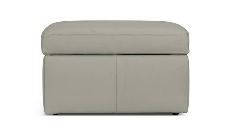 Argos Home Leather Storage Footstool - Grey