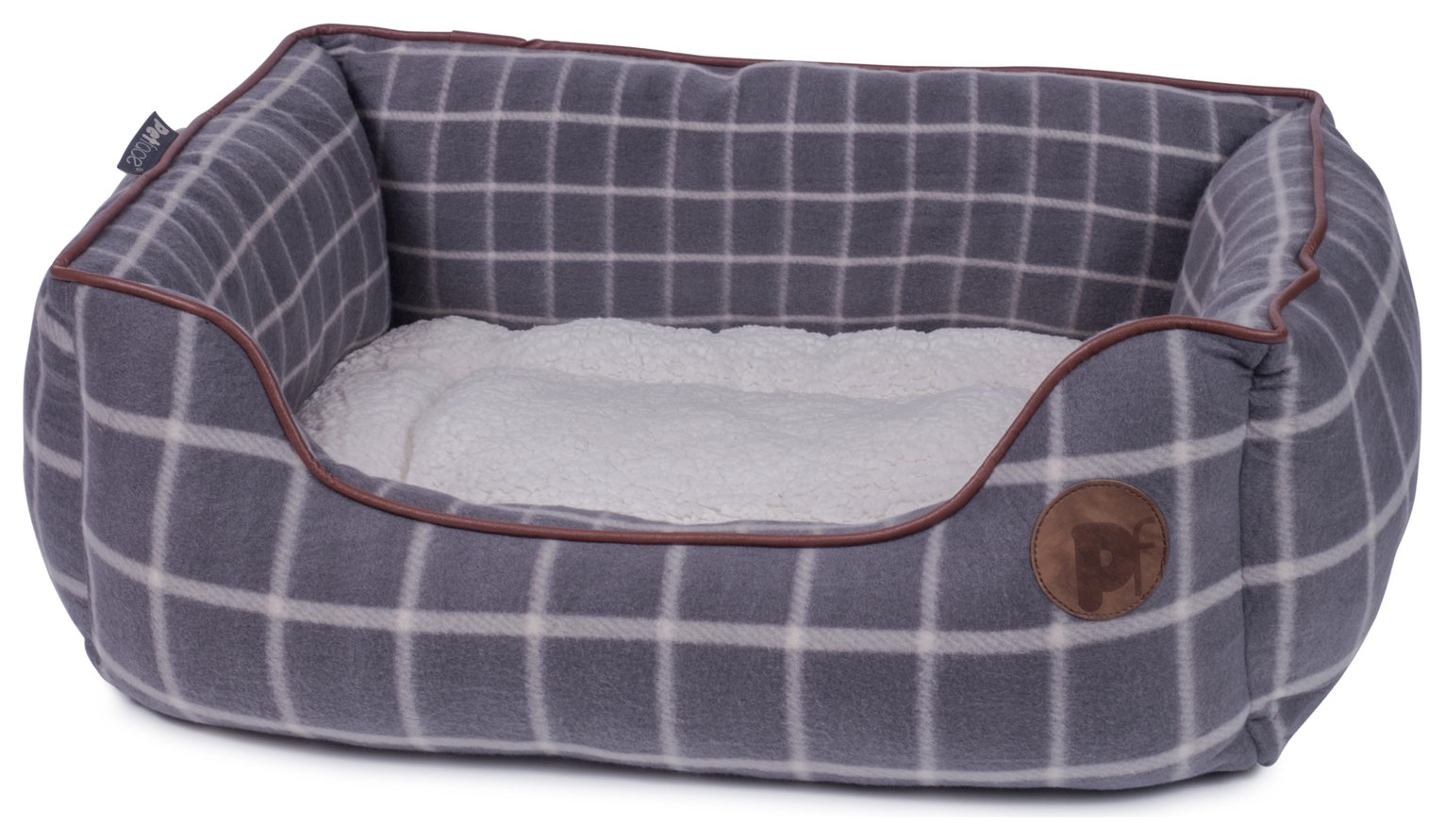 Petface Square Grey Window Check Dog Bed - Large