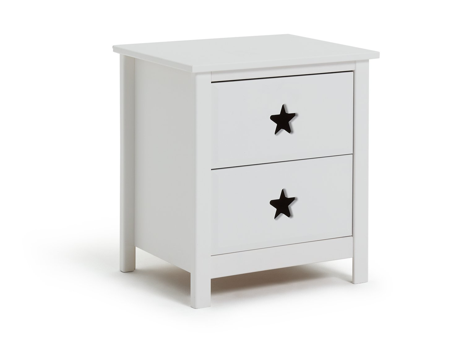 Collection Stars 2 Drawer Bedside Chest - White