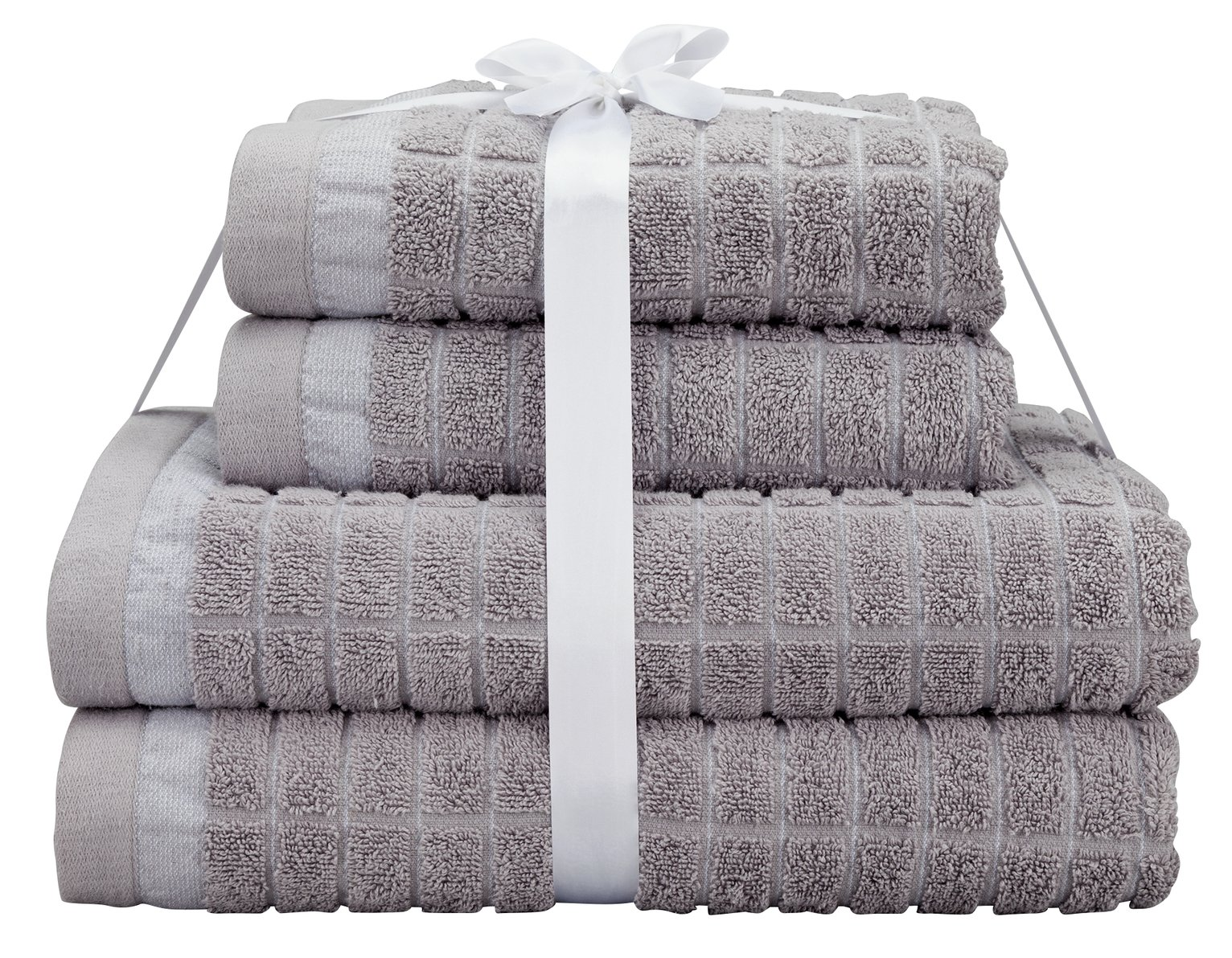 Argos Home 4 Piece Gridded Towel Bale - Glacier Grey