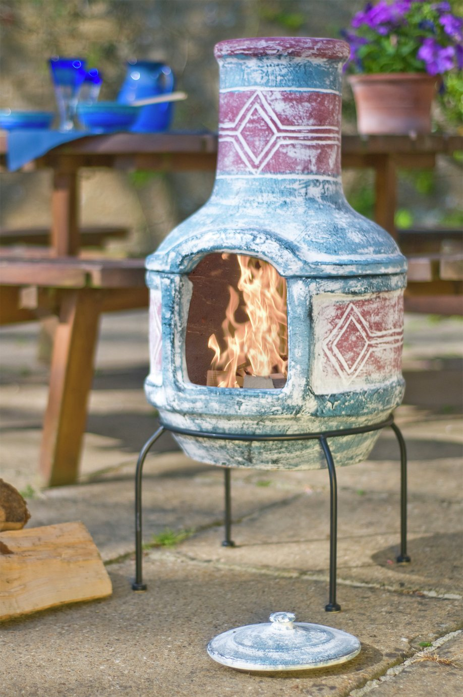 La Hacienda Geometric Clay Chimenea with Grill