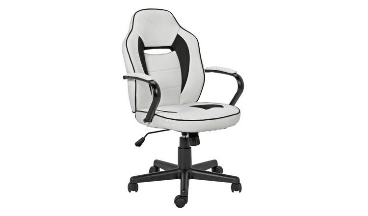 Argos Home Faux Leather Mid Back Gaming Chair -White & Black