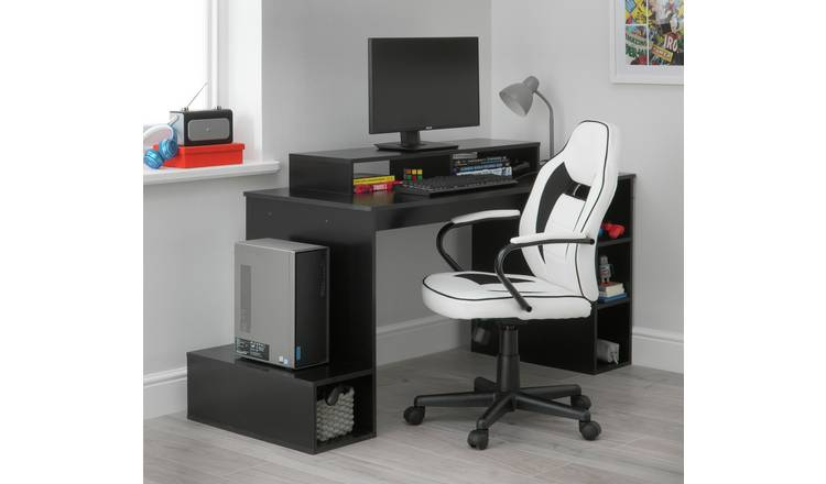 Buy Argos Home Faux Leather Mid Back Gaming Chair White Black Office Chairs Argos
