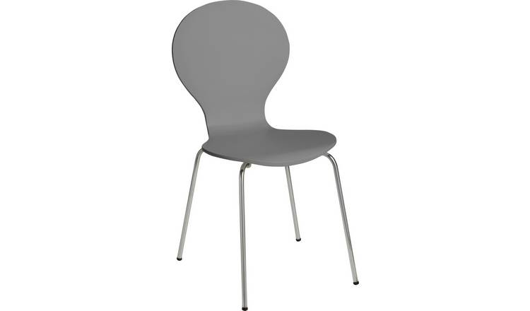 Argos Home Bentwood Metal Dining Chair - Jet Grey