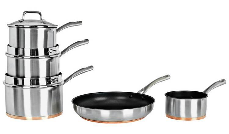 Buy 5 Piece Copper Based Pan Set Pan Sets Argos