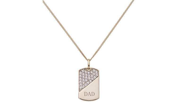 Revere Men's 9ct Gold Plated Silver CZ 'Dad' Dog Tag Pendant