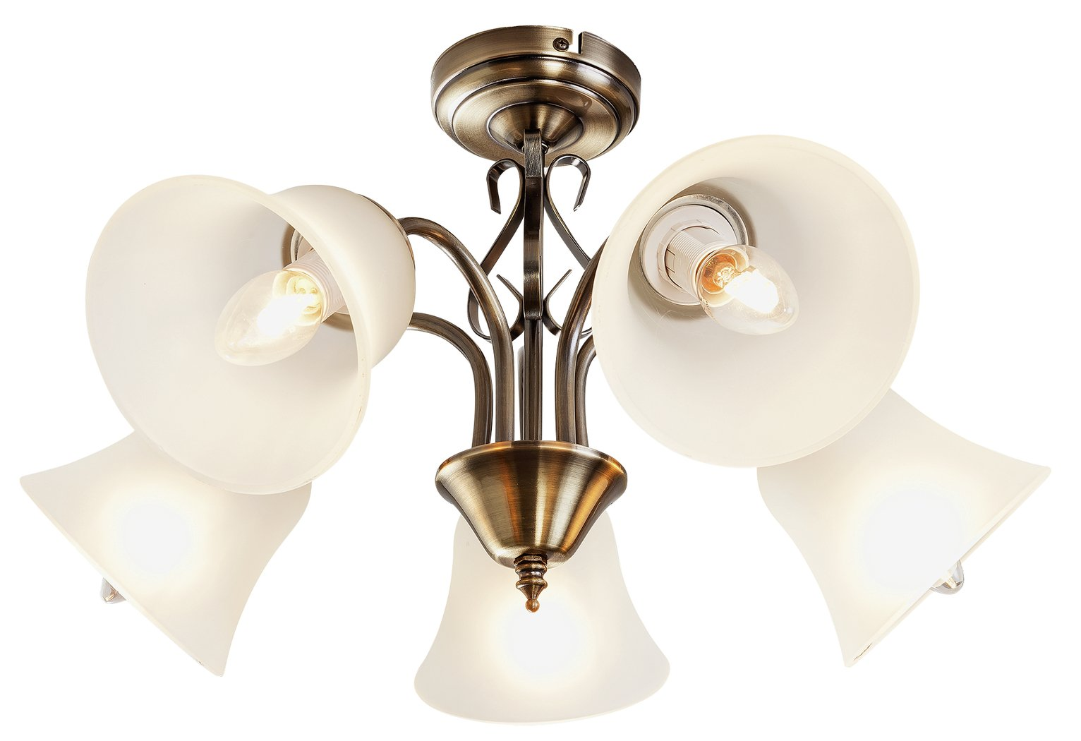 Traditional Bathroom Barclay Flush Fitting Glass Ceiling: Searchlight Antique Brass Square Ceiling Flush Light With