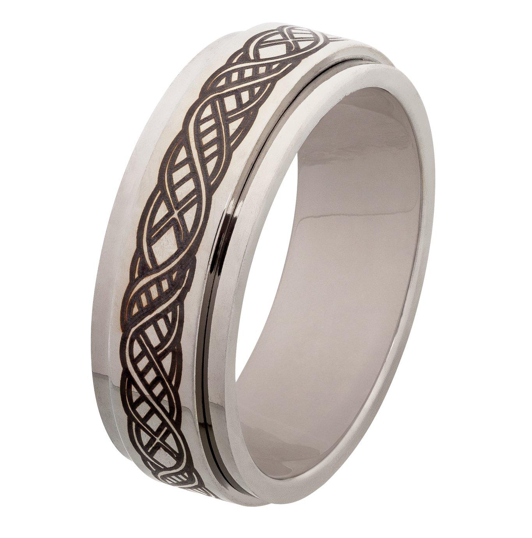 Revere Men's Stainless Steel Celtic Spinning Ring