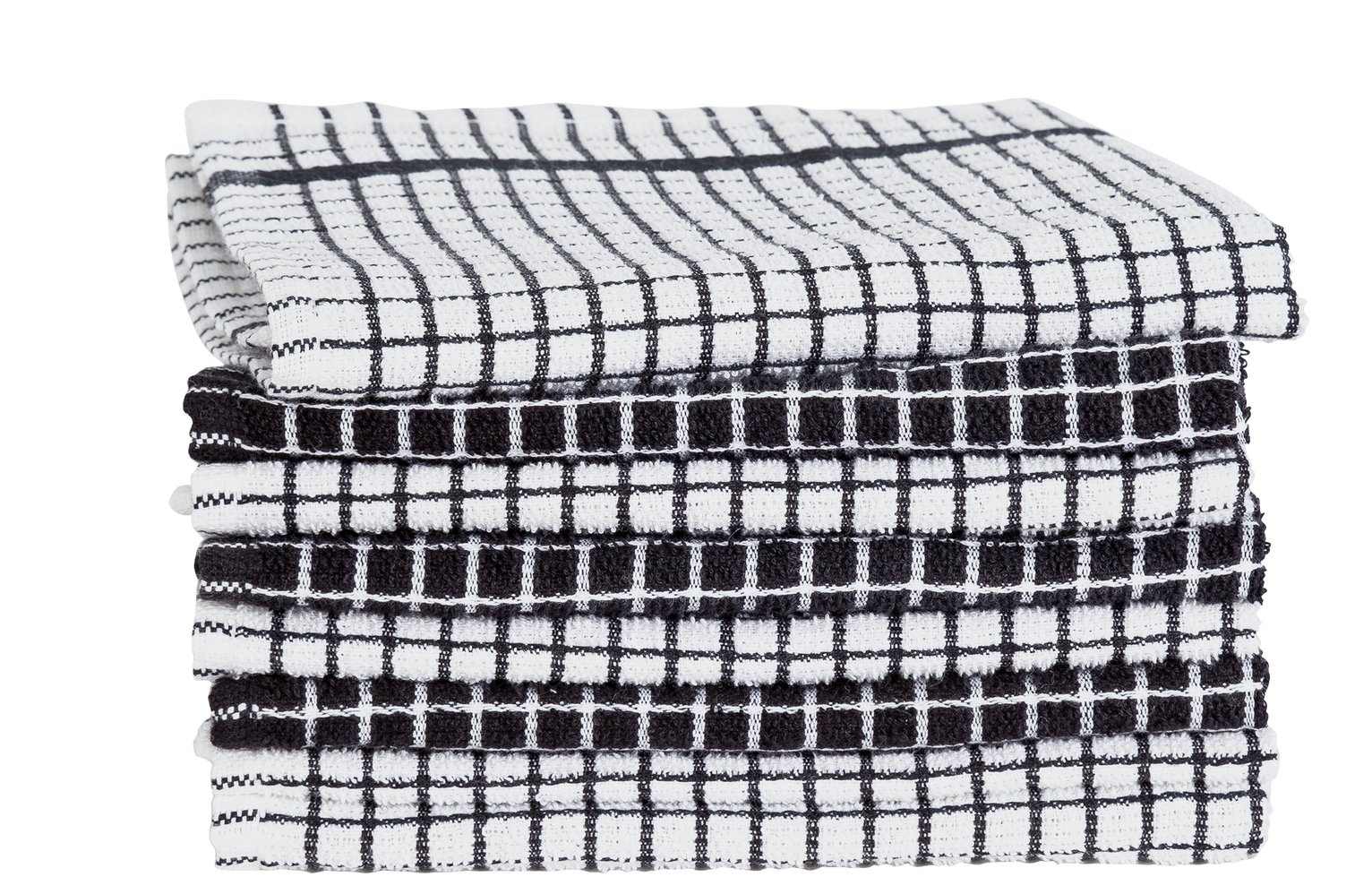 Argos Home Pack of 8 Terry Tea Towels - Black and White