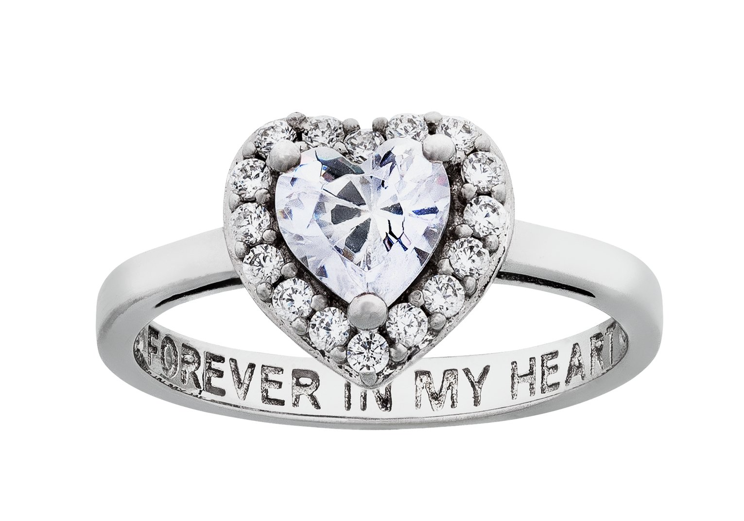 Moon & Back Silver Cubic Zirconia 'Forever In My Heart' Ring